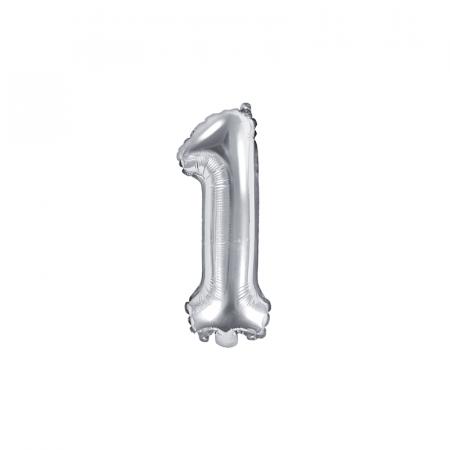 Balon Folie Cifra 1 Argintiu, 35 cm0