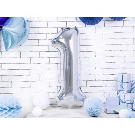 Balon Folie Cifra 1 Argintiu, 86 cm1