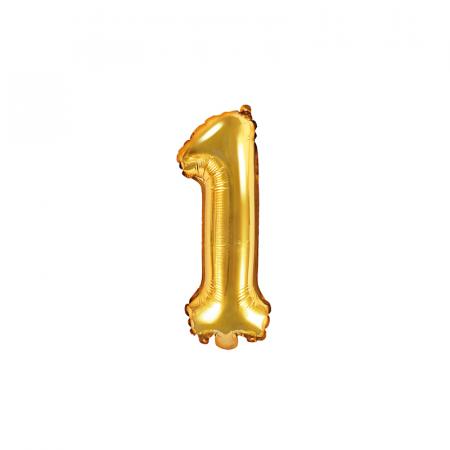 Balon Folie Cifra 1 Auriu, 35 cm [0]