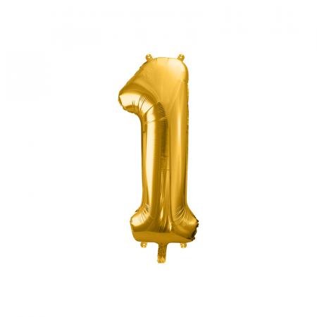 Balon Folie Cifra 1 Auriu, 86 cm0