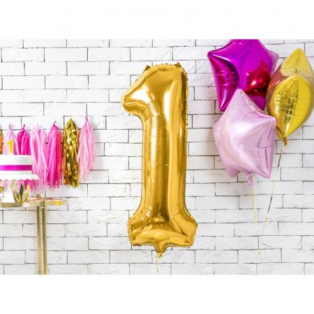 Balon Folie Cifra 1 Auriu, 86 cm1