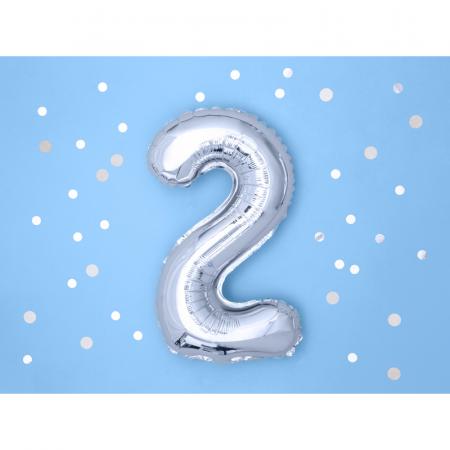 Balon Folie Cifra 2 Argintiu, 35 cm1