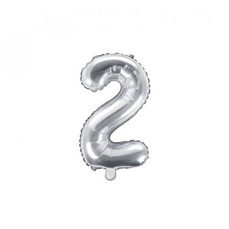 Balon Folie Cifra 2 Argintiu, 35 cm0