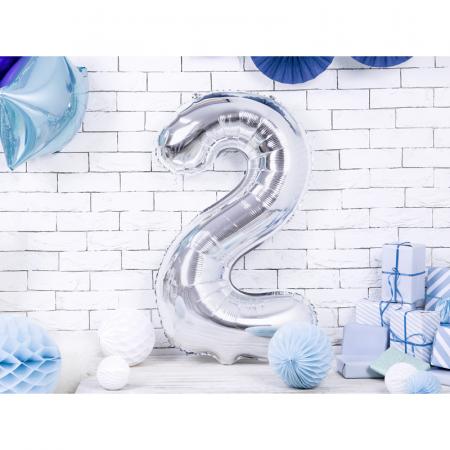 Balon Folie Cifra 2 Argintiu, 86 cm [1]