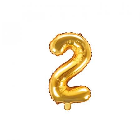 Balon Folie Cifra 2 Auriu, 35 cm0
