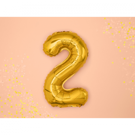 Balon Folie Cifra 2 Auriu, 35 cm1