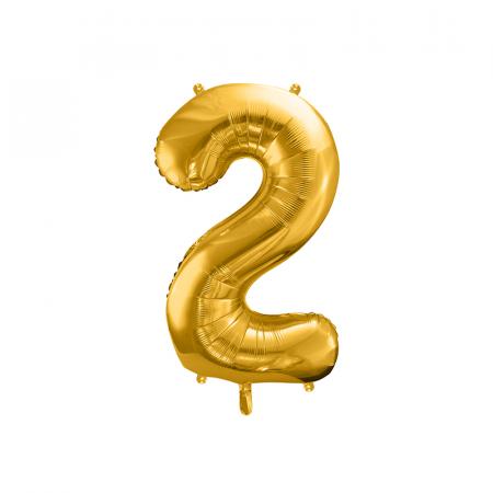 Balon Folie Cifra 2 Auriu, 86 cm0