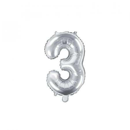 Balon Folie Cifra 3 Argintiu, 35 cm [0]