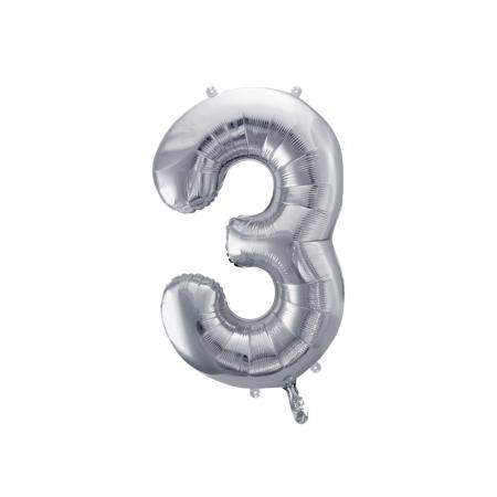Balon Folie Cifra 3 Argintiu, 86 cm0