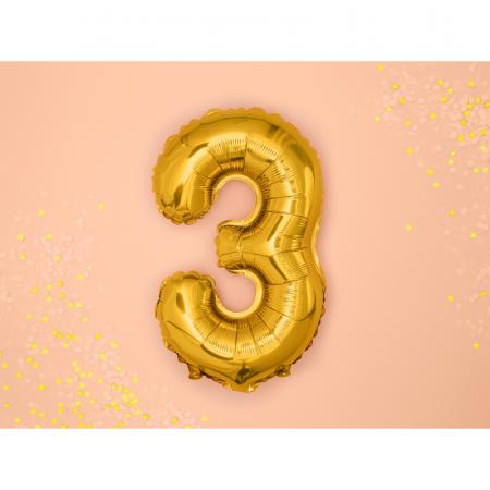 Balon Folie Cifra 3 Auriu, 35 cm1