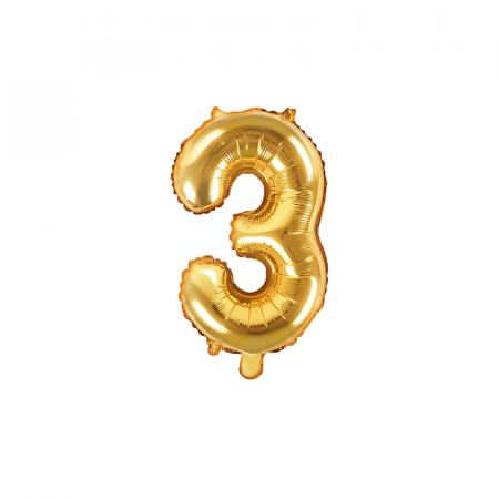 Balon Folie Cifra 3 Auriu, 35 cm0