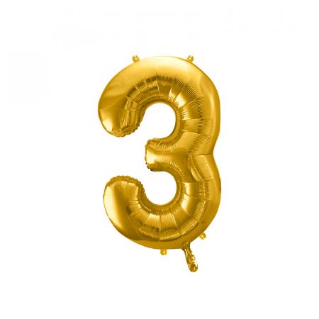Balon Folie Cifra 3 Auriu, 86 cm0