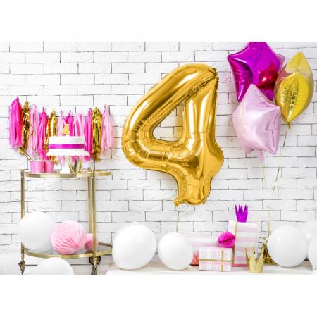 Balon Folie Cifra 4 Auriu, 86 cm2