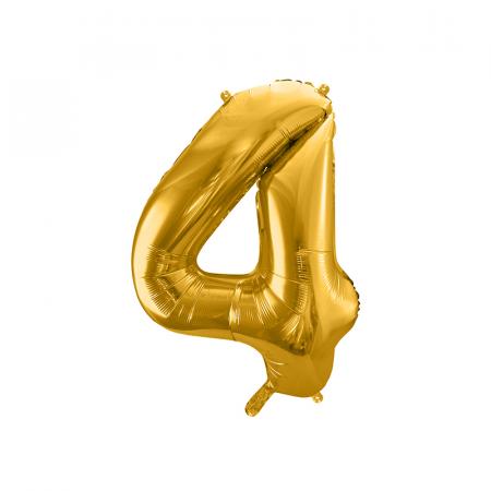 Balon Folie Cifra 4 Auriu, 86 cm0