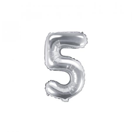 Balon Folie Cifra 5 Argintiu, 35 cm0
