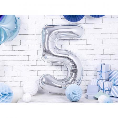 Balon Folie Cifra 5 Argintiu, 86 cm1