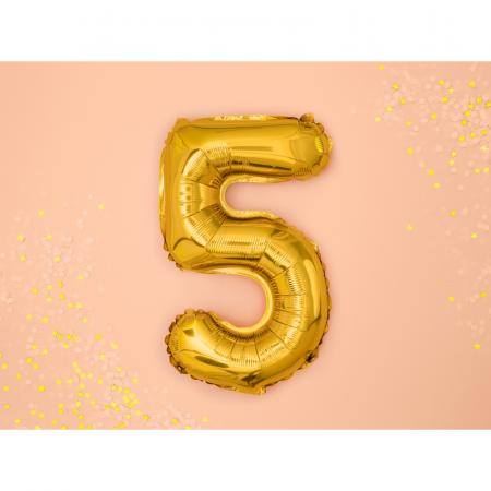 Balon Folie Cifra 5 Auriu, 35 cm [1]