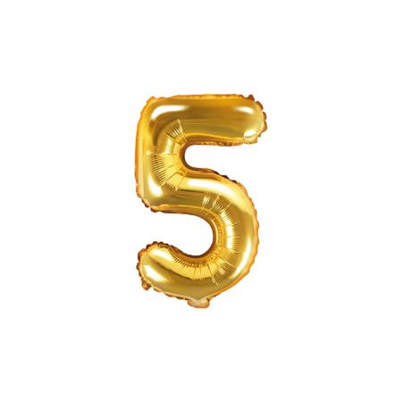Balon Folie Cifra 5 Auriu, 35 cm [0]