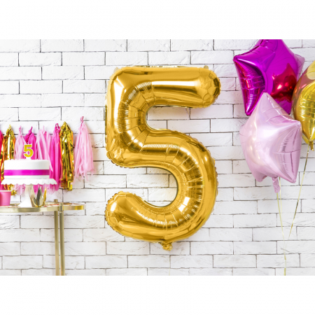 Balon Folie Cifra 5 Auriu, 86 cm1