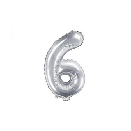 Balon Folie Cifra 6 Argintiu, 35 cm0