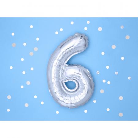 Balon Folie Cifra 6 Argintiu, 35 cm1