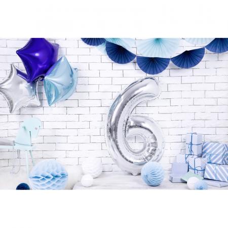 Balon Folie Cifra 6 Argintiu, 86 cm [2]