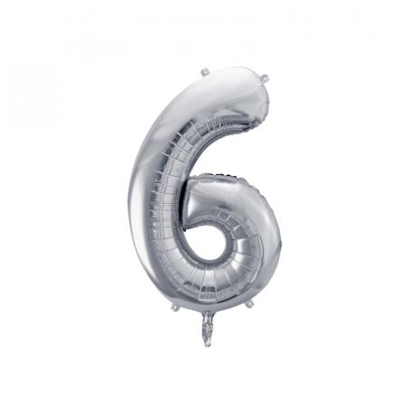 Balon Folie Cifra 6 Argintiu, 86 cm [0]