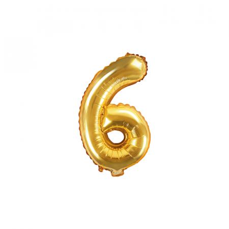 Balon Folie Cifra 6 Auriu, 35 cm0