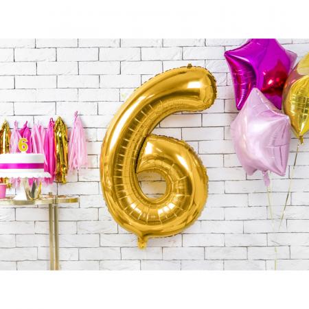 Balon Folie Cifra 6 Auriu, 86 cm [1]
