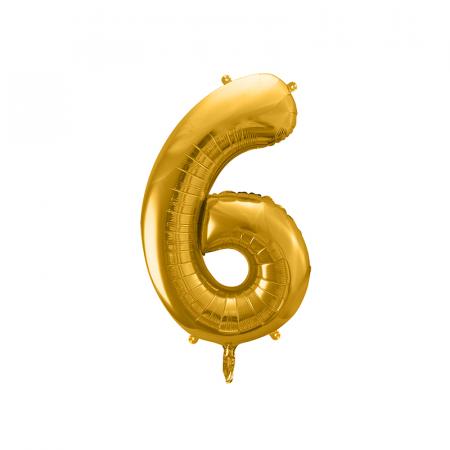Balon Folie Cifra 6 Auriu, 86 cm [0]