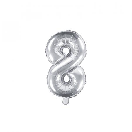 Balon Folie Cifra 8 Argintiu, 35 cm0