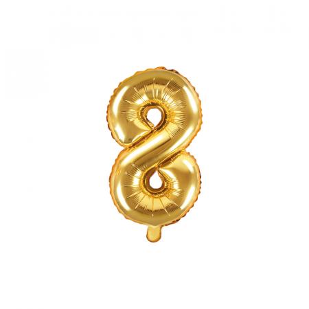 Balon Folie Cifra 8 Auriu, 35 cm0
