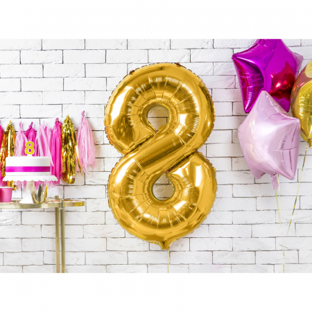 Balon Folie Cifra 8 Auriu, 86 cm1