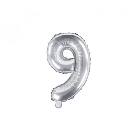Balon Folie Cifra 9 Argintiu, 35 cm0