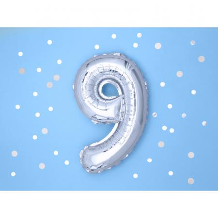 Balon Folie Cifra 9 Argintiu, 35 cm1