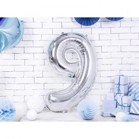 Balon Folie Cifra 9 Argintiu, 86 cm1
