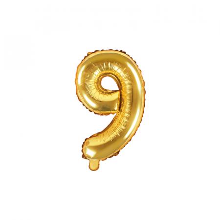 Balon Folie Cifra 9 Auriu, 35 cm [0]
