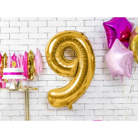 Balon Folie Cifra 9 Auriu, 86 cm1