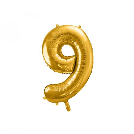 Balon Folie Cifra 9 Auriu, 86 cm0