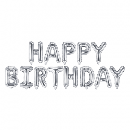 Baloane Folie Happy Birthday Argintiu - 340x35 cm0