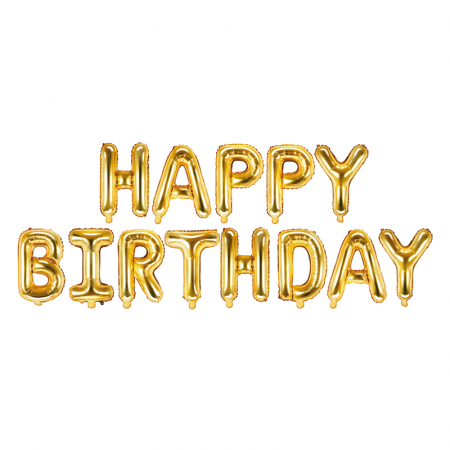 Baloane Folie Happy Birthday Auriu - 340x35 cm0