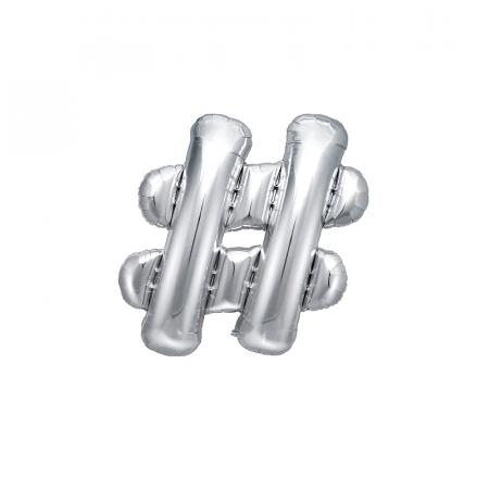 Balon Folie Hashtag, Argintiu - 35 cm0