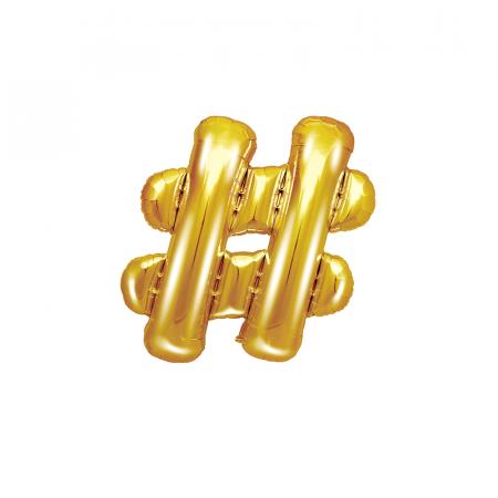 Balon Folie Hashtag, Auriu - 35 cm [0]