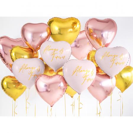 Balon Folie Inima, Roz Metalizat - 45 cm6