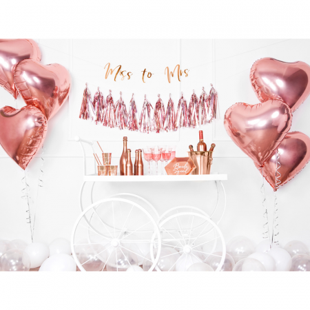 Balon Folie Inima, Roz Metalizat - 45 cm5