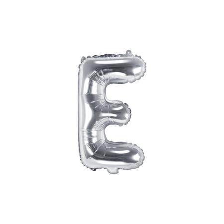 Balon Folie Litera E Argintiu, 35 cm0