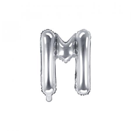 Balon Folie Litera M Argintiu, 35 cm0
