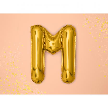 Balon Folie Litera M Auriu, 35 cm1
