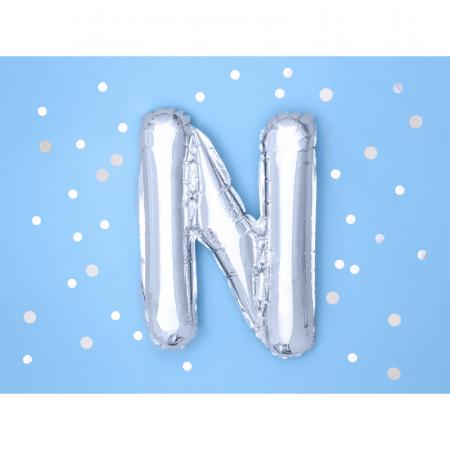 Balon Folie Litera N Argintiu, 35 cm [1]