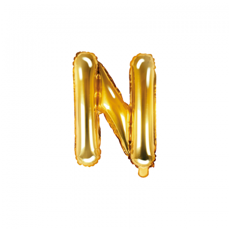 Balon Folie Litera N Auriu 35 cm0